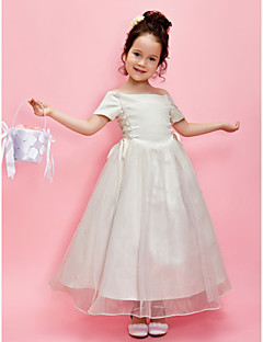 aラインのプリンセスの足首の長さの花ガールのドレス - サテンの短い袖オフショア肩でling tingbride®