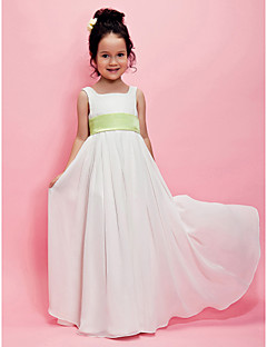 cheap Communion Dresses-A-Line Princess Floor Length Flower Girl Dress - Chiffon Sleeveless Square Neck with Draping Sash / Ribbon by LAN TING BRIDE®
