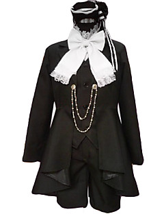 cheap Anime Costumes-Inspired by Black Butler Ciel Phantomhive Anime Cosplay Costumes Cosplay Suits Patchwork Long Sleeves Cravat Coat Vest Shirt Shorts For