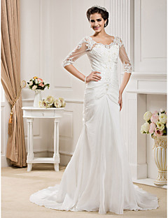 cheap True Allure-Mermaid / Trumpet Scoop Neck Chapel Train Taffeta Wedding Dress with Beading Appliques Ruche by LAN TING BRIDE®