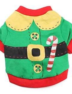 billiga Hundkläder-Katt Hund Dräkter/Kostymer T-shirt Hundkläder Färgblock Röd Grön Cotton Kostym För husdjur Herr Dam Gulligt Cosplay