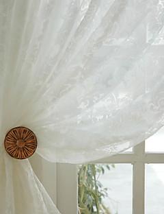 baratos Cortinas Transparentes-Barra no Interior Anéis Presilhas Duplo Plissado Dois Painéis Tratamento janela Regional, Jacquard Sala de Jantar Poliéster Material