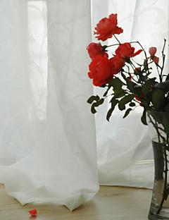 billige Gjennomsiktige gardiner-Gardiner Skygge Spisestue Ensfarget 100% Polyester Imitert Lintøy Mønstret