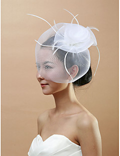 cheap Wedding Veils-One-tier Cut Edge Wedding Veil Blusher Veils Birdcage Veils 53 Feather Tulle
