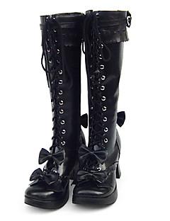 billiga Lolitamode-Skor Söt Lolita Söt Lolita Handgjord Platt klack Högklackat Skor Enfärgad 3 cm CM Till PU-läder / Polyuretan Läder Polyuretan Läder Halloweenkostymer