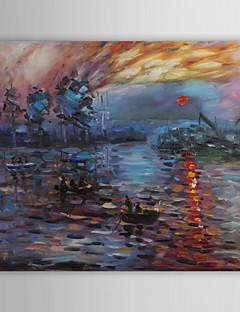 tanie Pejzaże abstrakcyjne-Hang-Malowane obraz olejny Ręcznie malowane - Sławny Nowoczesne Brezentowy / Rozciągnięte płótno