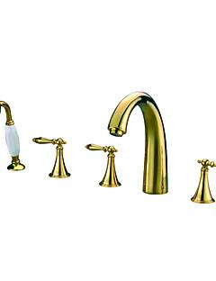 billige Romersk- bad-Moderne Badekar Og Dusj Hånddusj Inkludert Utbredt with  Keramisk Ventil Fire Huller Tre Håndtak fem hull for  Ti-PVD , Badekarskran