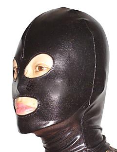 billige Zentai-Maske Ninja Zentai Cosplay-kostymer Svart Ensfarget Maske Spandex Herre Dame Halloween / Høy Elastisitet