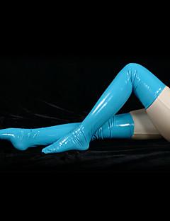 billige Zentai-Sokker og Strømpebukser Ninja Zentai Cosplay-kostymer Blå Ensfarget Strømper PVC Herre Dame Halloween