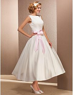 billiga Balbrudklänningar-Prinsessa Bateau Neck Telång Satäng Bröllopsklänningar tillverkade med Draperad av LAN TING BRIDE® / Liten vit klänning / Liten vit klänning