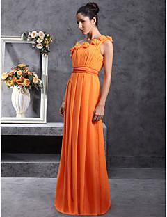 Χαμηλού Κόστους Ουδέτερα Χρώματα-Ίσια Γραμμή Ένας Ώμος Μακρύ Σιφόν Φόρεμα Παρανύμφων με Που καλύπτει Πλισέ Λουλούδι με LAN TING BRIDE®