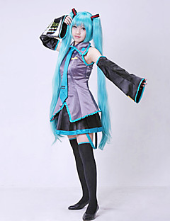 cheap Anime Costumes-Inspired by Vocaloid Hatsune Miku Video Game Cosplay Costumes Cosplay Suits Dresses Patchwork Sleeveless Blouse Skirt Sleeves Belt