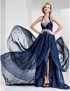A-line Princess Halter Sweetheart Court Train Satin chiffon Vestido de noite com beading by ts couture®