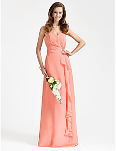 cheap Romance Blush-Sheath / Column Strapless Sweetheart Floor Length Chiffon Bridesmaid Dress with Side Draping Ruffles by LAN TING BRIDE®