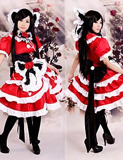 """billige Videospill cosplay-Inspirert av Touhou Projekt Reimu Hakurei video Spill  """"Cosplay-kostymer"""" Cosplay Klær Kjoler Lapper Kortermet Kjole Hodeplagg Halskjede"""