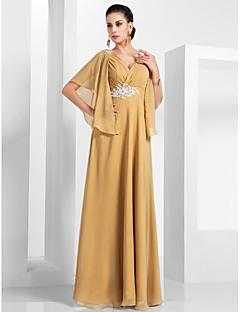 billiga Aftonklänningar-A-linje V-hals Golvlång Chiffong Formell kväll / Bröllopsfest Klänning med Applikationsbroderi / Veckad av TS Couture®