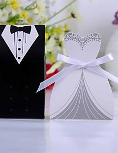 billige Bryllupsbutikken-Kreativ Kort Papir Gaveholder Med Bånd Favoritt Esker