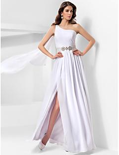 billiga Aftonklänningar-A-line prinsessa en axelgolvslängd chiffongkväll med drapering av ts couture®