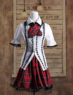 billiga Lolitaklänningar-Punk Lolita Lolita Dam Outfits Cosplay Kortärmad Kort längd
