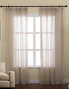 billige Vinduskolleksjoner-To paneler Window Treatment Rustikk / Moderne / Neoklassisk / Rokoko / Europeisk / Designer , Solid Stue Lin/ Polyester Blanding Materiale