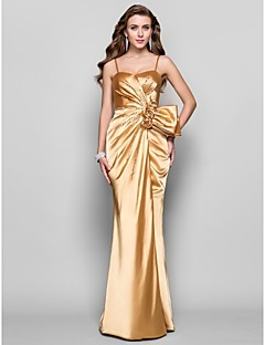 A-Line Princess Spaghetti Straps Sweetheart Floor Length Stretch Satin Prom Dress with Flower by TS Couture®