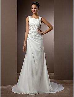 billiga Åtsmitande brudklänningar-Åtsmitande remmar Hovsläp Chiffong Smycken tillverkade av brudgummen med Bård / Sidodraperad av LAN TING BRIDE® / Vintage-inspirerad
