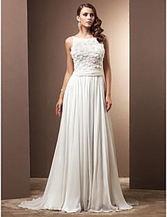 billiga Åtsmitande brudklänningar-A-linje Scoop Neck Svepsläp Chiffong Bröllopsklänningar tillverkade med Veckad / Blomma av LAN TING BRIDE®