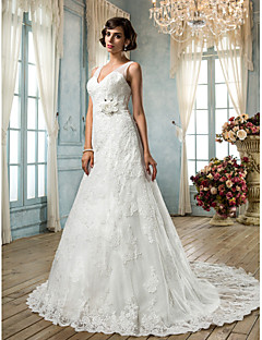 billiga A-linjeformade brudklänningar-A-linje V-hals Svepsläp Spets Bröllopsklänningar tillverkade med Bård / Applikationsbroderi / Bälte / band av LAN TING BRIDE®