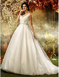 billige Bryllupsbutikken-A-linje / Prinsesse V-hals Svøpeslep Tyll / Paljetter Made-To-Measure Brudekjoler med Perlearbeid / Paljett / Belte / bånd av LAN TING
