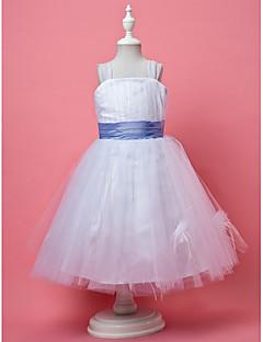 tanie Ślub z motywem przewodnim-Krój A / Księżniczka Do kolan Sukienka dla dziewczynki z kwiatami - Tiul Bez rękawów Pasy z Drapowania / Piórka / Futerko / Szafra / Wstążka przez LAN TING BRIDE®