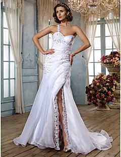 tanie Prawdziwy wdzięk-Syrena Na jedno ramię Tren sweep Organza Niestandardowe suknie ślubne z Koraliki Rozporek Fałdki boczne Guzik przez LAN TING BRIDE®