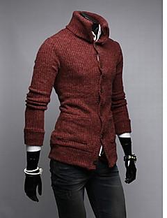 tanie Męskie swetry i swetry rozpinane-Męskie Jendolity kolor Rozpinany Codzienny Długi rękaw Bawełna