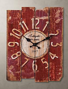 ieftine Ceasuri Din Lemn De Perete-1pc lemn 30.0 * 39.0 * 2.0cm stil de țară kaki ceas de perete casa deraction