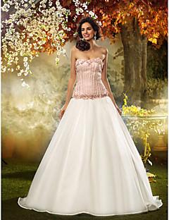 billiga Prinsessbrudklänningar-Figursydd Axelbandslös Svepsläp Spets Organza Bröllopsklänning med Blomma av LAN TING BRIDE®