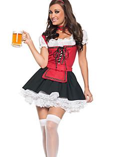 billige Halloweenkostymer-Oktoberfest Servitør Cosplay Kostumer Party-kostyme Dame Jul Halloween Nytt År Festival / høytid Halloween-kostymer Drakter Rød / Svart Lapper