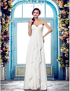 billiga Imperiumbrudklänningar-Åtsmitande Smala axelband Golvlång Chiffong Bröllopsklänningar tillverkade med Bård / Sidodraperad av LAN TING BRIDE®