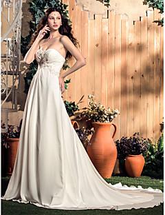 billiga A-linjeformade brudklänningar-A-linje Hjärtformad urringning Hovsläp Chiffong Bröllopsklänningar tillverkade med Bård / Applikationsbroderi / Veckad av LAN TING BRIDE®