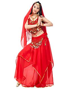 ריקוד בטן תלבושות בגדי ריקוד נשים ביצועים שיפון חרוזים מטבעות עטוף 4 חלקים טבעי עליון חצאית אביזרים לשיער צעיף מותניים לריקודי בטן
