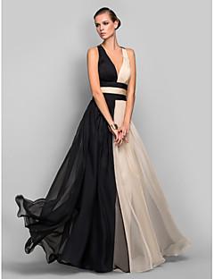billige Mønstrede og ensfargede kjoler-A-linje Stikkende halslinje Gulvlang Chiffon Formell kveld / Ferie Kjole med Bølgemønster av TS Couture® / Åpen rygg / Fargeblokk
