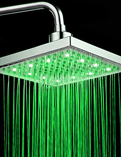 Chrome Finish Rectangular Temperature Controlled 3 Colors LED Shower Head