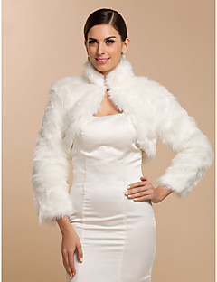 cheap -Long Sleeves Faux Fur Wedding Party Evening Casual Office & Career Fur Wraps Wedding  Wraps Coats / Jackets