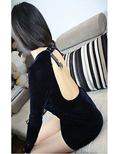 FashionGirl Kadın Low Cut Backless Hip Paketi Blue Dress