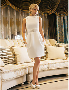 cheap Wedding Dresses-Sheath / Column Bateau Neck Knee Length Satin Made-To-Measure Wedding Dresses with Beading / Pocket by LAN TING BRIDE® / Little White Dress / Open Back