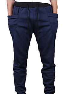 Men's Solid Casual Sweatpants,Cotton Blend Black / Blue / Brown / Green / Purple / Red / Gray