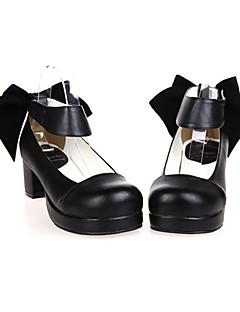 billiga Lolitamode-Skor Klassisk / Traditionell Lolita Handgjord Högklackat Skor Enfärgad 4.5 cm CM Svart Till PU-läder / Polyuretan Läder Halloweenkostymer