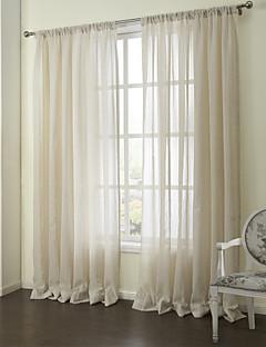 baratos Coleções de Janela-Dois Painéis Tratamento janela Neoclassicismo , Riscas Quarto Linho Material Sheer Curtains Shades Decoração para casa For Janela