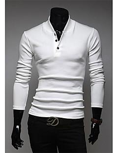 billige Herrers Moteklær-v stand krage slanking polo skjorte (hvit)