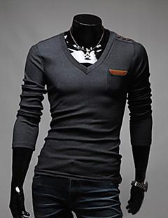 Majica s rukavima Muške Ležerno/za svaki dan Jednobojni-Dugih rukava Pamuk Poliester