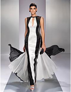 Linha A Decorado com Bijuteria Longo Georgette Baile de Fim de Ano Evento Formal Baile Militar Vestido com Renda de TS Couture®