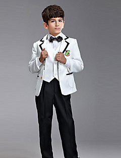 cheap Ring Bearer Suits-White Black Polester / Cotton Blend Ring Bearer Suit - Six-piece Suit Includes  Jacket Vest Shirt Pants Suspenders Bow Tie